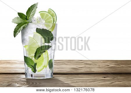 Mojito Cocktail In Wooden Table