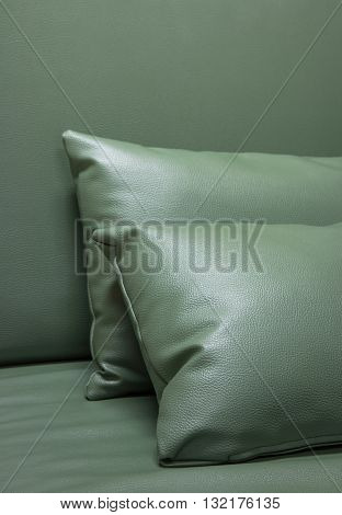 green leather pillow on the sofa at room