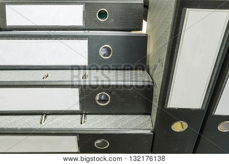 Closeup group of document file in office background