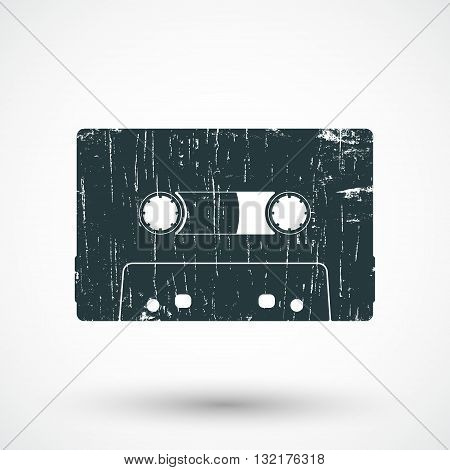 Audio cassette icon. Compact cassette stamp. Vector illustration