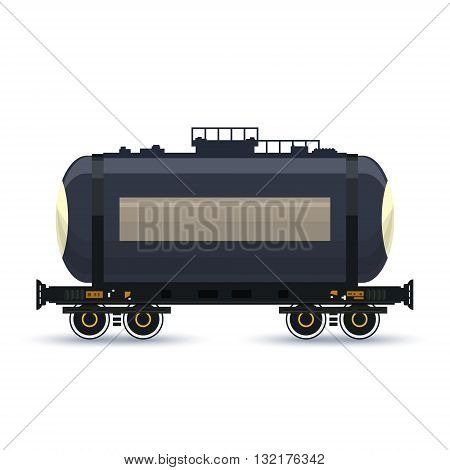 Tank , Tank  on Railway Platform Isolated on White, Railway  Transport, Railway Car the Tank for Transportation of Liquid and Loose Freights , Vector Illustration