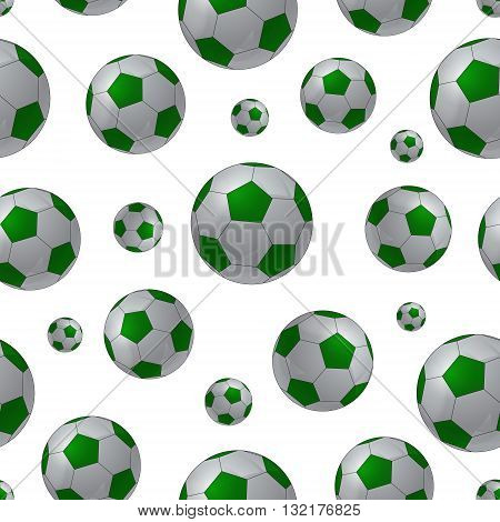 Seamless background with football balls. Vector illustration.