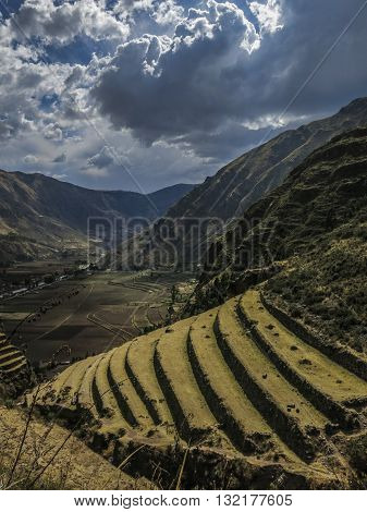 Agricultural terraces in the Sacred Valley of the Incas, Pisac, Peru