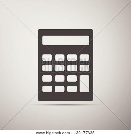 Calculator icon on gray background. Vector Illustration.