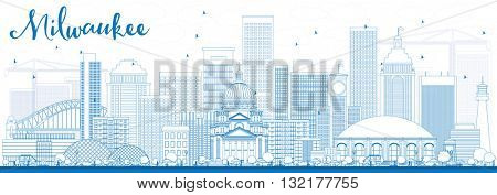 Outline Milwaukee Skyline with Blue Buildings. Business Travel and Tourism Concept with Modern Buildings. Image for Presentation Banner Placard and Web Site.