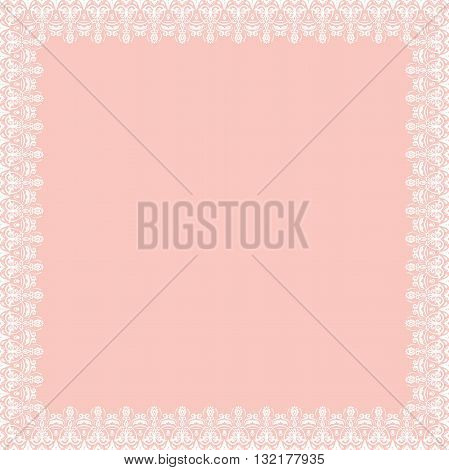 Classic vector square frame with arabesques and orient elements. Abstract fine ornament with place for text. Pink and white pattern