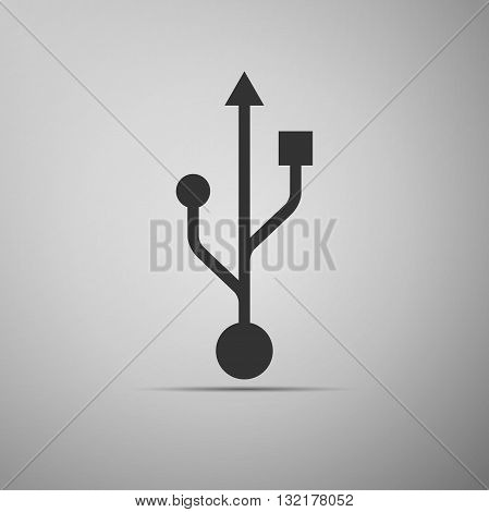 USB symbol on gray background. Vector Illustration.