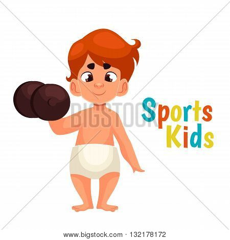 baby in diapers with a dumbbell, vector cartoon comic illustration isolated on a white background, a strong baby kantele raises one hand, the infant the winner in the sport, a great willpower
