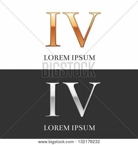 4, IV, Luxury Gold and Silver Roman numerals, sign, logo, symbol, icon, graphic. Vector Illustration.