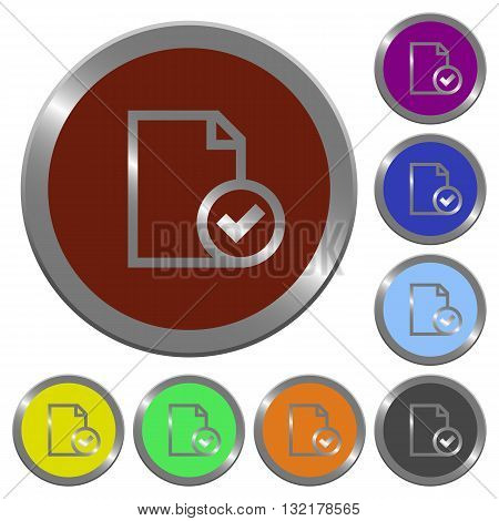 Set of color glossy coin-like document accepted buttons.