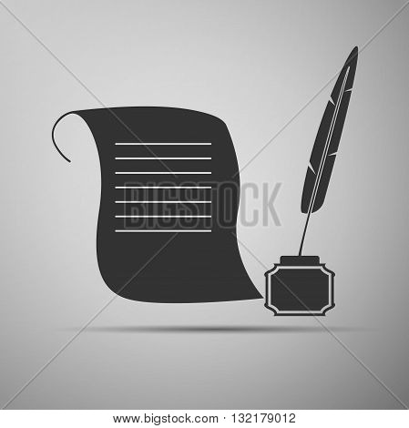 Quill Pen with inkwell and paper scroll icon. Vector illustration