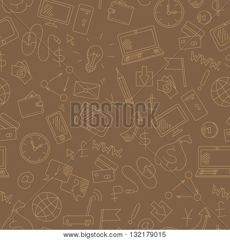 Seamless background on the topic of information technology and earn money online simple hand-drawn contour icons light outline on a brown background