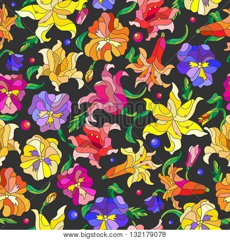 Seamless background with spring flowers in stained glass style flowers buds and leaves of pansies and lilies on a dark background