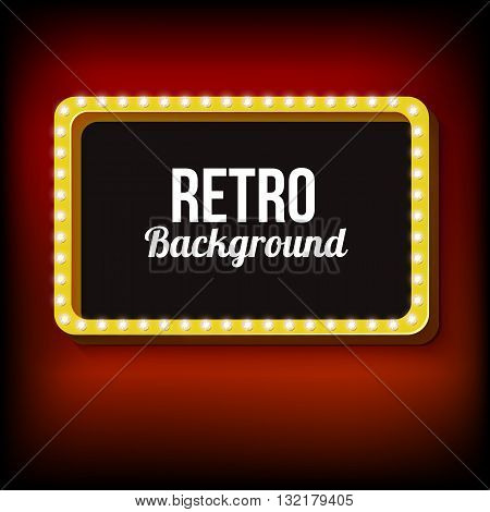 Retro frame with realistic lights. Bulk box with lights and black background for your text ads, ads. Red light lamps falls on the background. illustration
