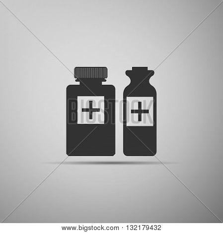 Medical bottles icon on gray background. Vector illustration