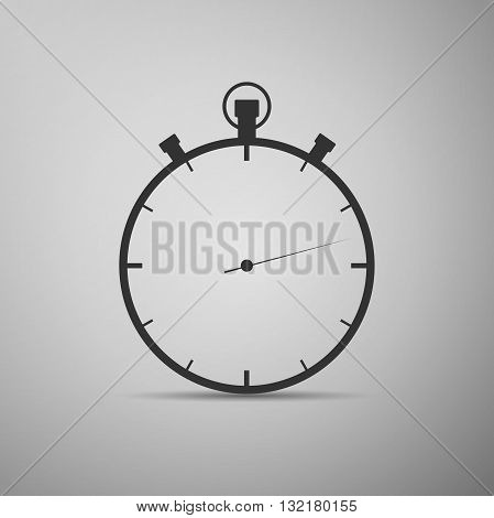 Timer icon on gray background. Vector Illustration.