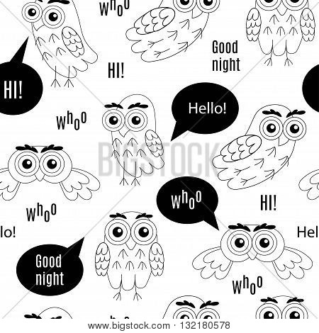 Set owl bubbles vector isolated on white background. Owl with bubbles Hi, Owl with bubbles Hello, Owl with bubbles Who, Owl with bubbles Goodnight