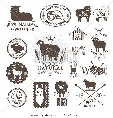 Wool labels and stickers. Logo set of sheep alpaca rabbit and goat wool. Signs and emblems for natural wool products.