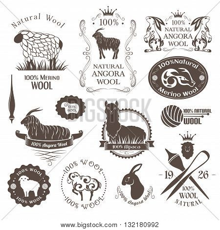 Wool labels and elements. Set of sheep alpaca rabbit and goat wool. Stickers and emblems for natural wool products.