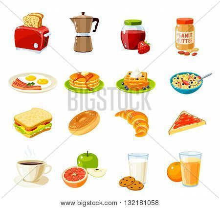 Set of cartoon food: breakfast. Toaster, coffee pot, jam, peanut butter, fried eggs and bacon, pancakes, waffles, cornflakes, sandwich, bun, croissant, fruits, juice and so. Vector illustration.