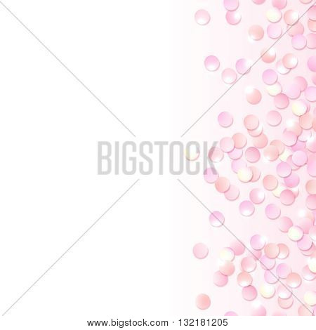 Seamless border of pink realistic confetti, design template for gift, certificate, voucher, AD brochure and so. Colorful vector illustration isolated on white.