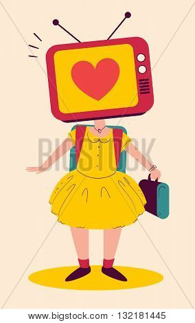 School Girl With Tv Head