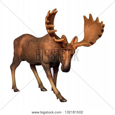 Beautiful collectible figure of an elk on white background.