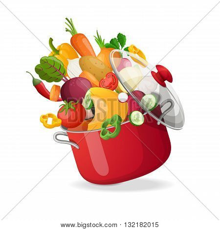 Fresh vegetables flying in a pot on an isolated white background. Vector illustration.