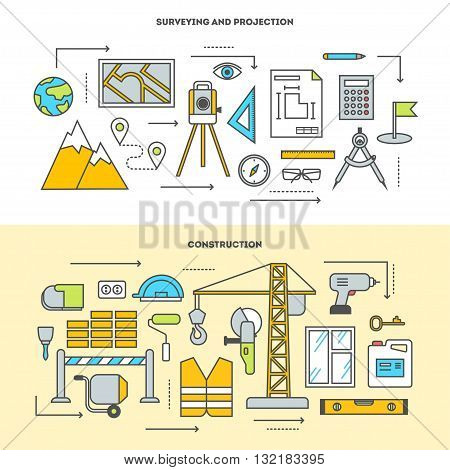 Pre-construction survey, building design and construction. Building stages. Vector icon