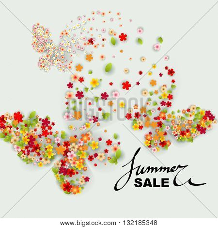 Summer Sale banner with paper flowers, butterfly and black frame. Vector illustration.