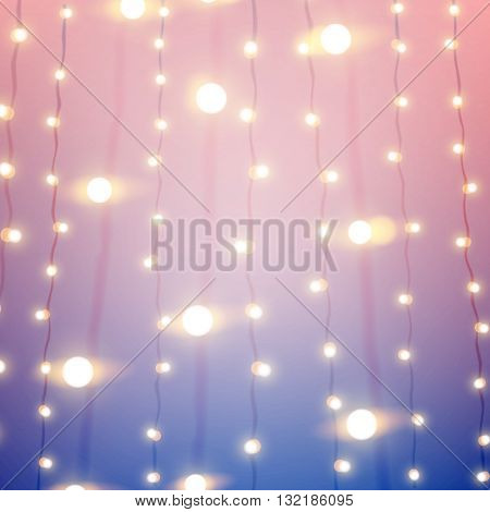 Pink and blue stylish unfocused background with bokeh carnival lights. Vector illustration eps10.
