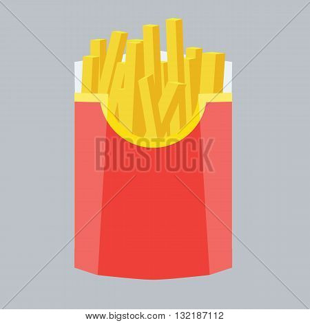 Fries vector illustration with flat color design. Fries in box. Fries isolated on solid color background. French fries inside red packaging.