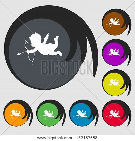 Cupid Sign Icon. Symbols On Eight Colored Buttons. Vector