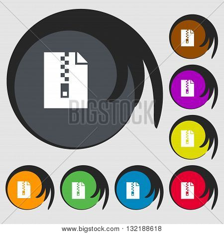 Computer Zip Folder, Archive Sign Icon. Symbols On Eight Colored Buttons. Vector