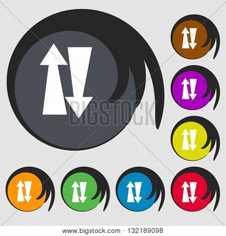 Two Way Traffic, Sign Icon. Symbols On Eight Colored Buttons. Vector