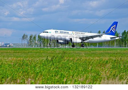 SAINT PETERSBURG RUSSIA - MAY 11 2016. P4-KBC Air Astana Airbus A320 airplane is riding on the runway after arrival at Pulkovo airport