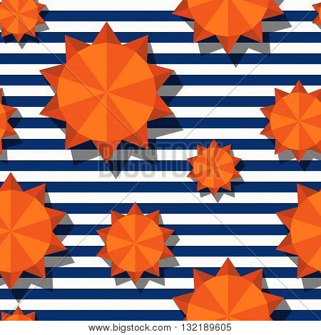Vector seamless pattern with 3d stylized orange sun and navy stripes. Summer marine striped background. Design for geometric fashion textile print wrapping paper web background.