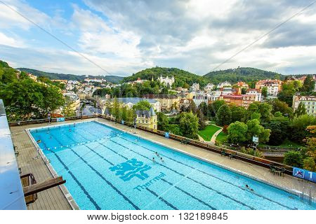 Karlovy Vary, Czech Republic - September 13, 2013: Outdoor swimming pool in the Thermal Hotel in Karlovy Vary, Czech Republic.