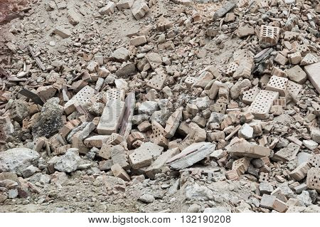 Stack of bricks in a construction site