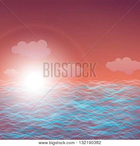 Waves sun and sky, Abstract background with sunset at sea, Abstract vector illustration