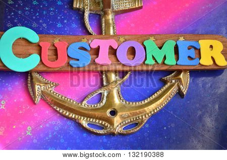 word customer on a abstract colorful background