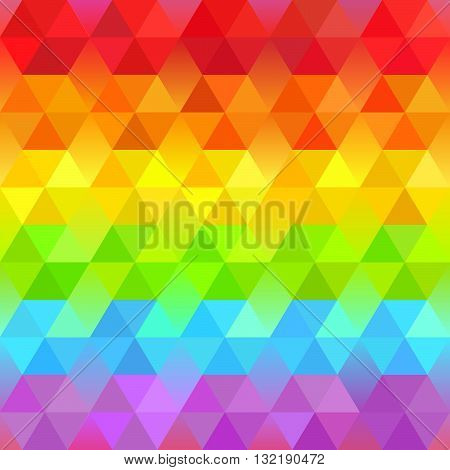 Beautiful Bright Geometric Background with Rainbow Stripes. Vector Faceted Pattern. Vibrant Spectrum Polygonal Texture.