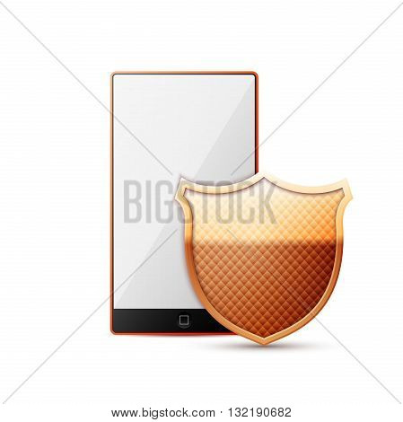 Vector mobile phone security - concept on white background. Vector Illustration. EPS10