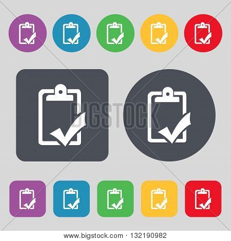 Document Grammar Control, Test, Work Complete Icon Sign. A Set Of 12 Colored Buttons. Flat Design. V