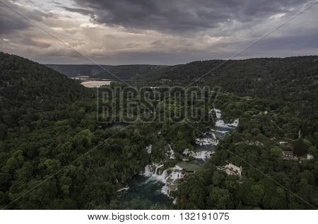 aerial view on KRKA National Park waterfalls April 2016 made by DJI phantom 4