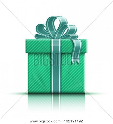 Green gift box with ribbon and bow. Vector illustration