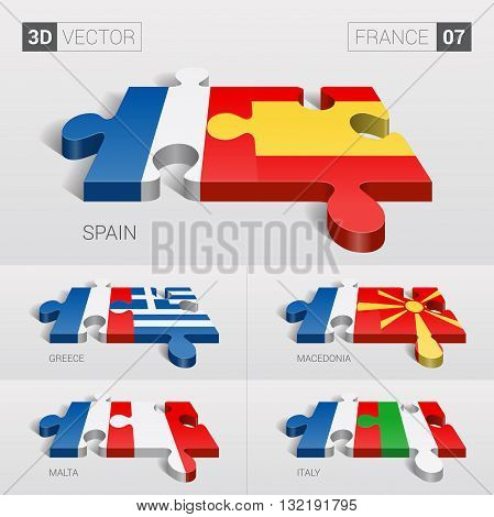 France and Spain, Greece, Macedonia, Malta, Italy Flag. 3d vector puzzle. Set 07.