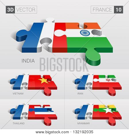 France and India, Vietnam, Iran, Thailand, Myanmar Flag. 3d vector puzzle. Set 10.
