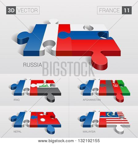 France and Russia, Iraq, Afghanistan, Nepal, Malaysia Flag. 3d vector puzzle. Set 11.