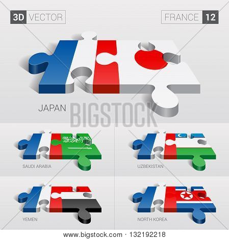 France and Japan, Saudi Arabia, Uzbekistan, Yemen, North Korea Flag. 3d vector puzzle. Set 12.